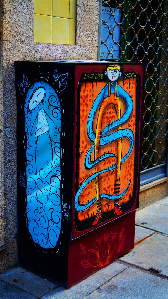 All pictures here --> joanamenesesfotografia blogspot 😀🙋 When I saw these electricity boxes I was blown away! I found it very interesting and inspirational that these artists turned something that was boring into a piece of art. You can find these in the center of Porto,Portugal in old streets that seem to get more and more beautiful as the years pass by.   Art work by: bolito instagram mynameisnotsem instagram silvia seixas peralta instagram oportocool