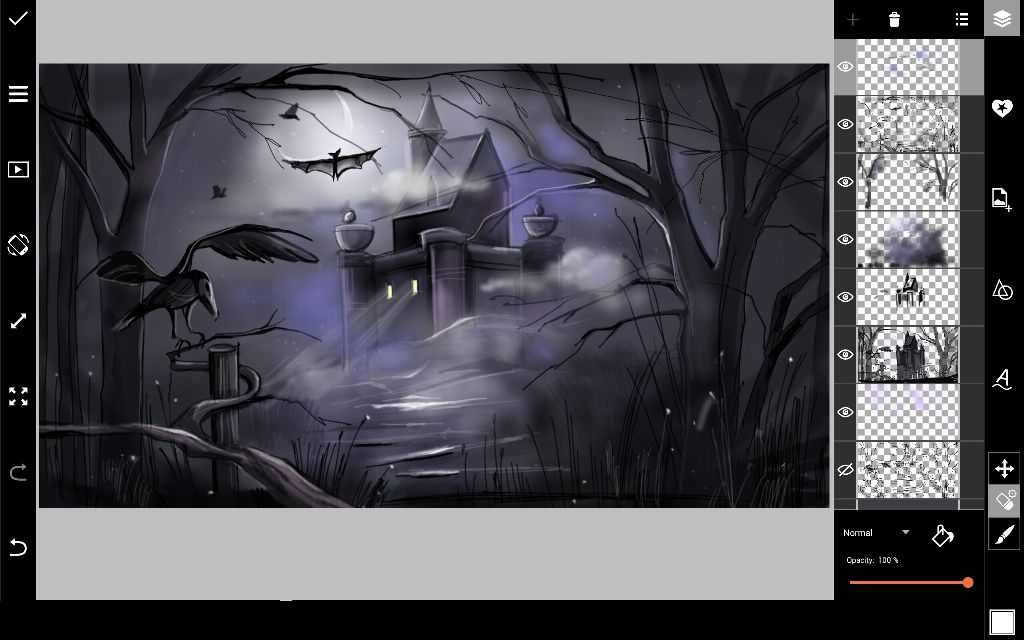 draw window lights in halloween drawing