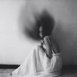 selfportrait blackandwhite painting blur blureffect