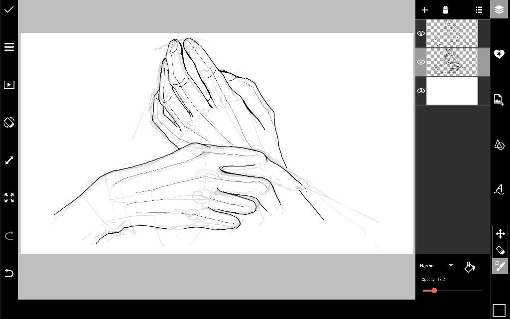 hands digital outline