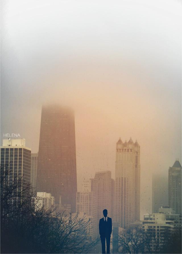 Leaving Chicago #chicago #urban #retro #clipart #fog #edited #silhouette