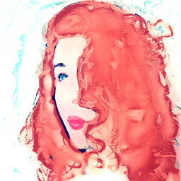 selfportrait red sketch watercolour pastel face colorsplash colorful picart peace people art pale look emotions