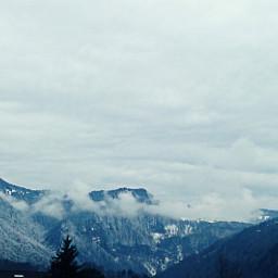 mountain sky dark winter snow