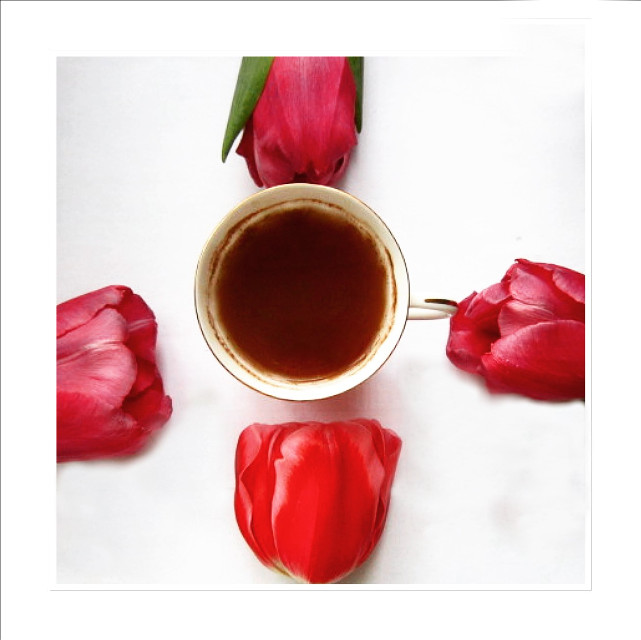 #flowers #tulips #coffee #cup #pink #white  # #woman's #day