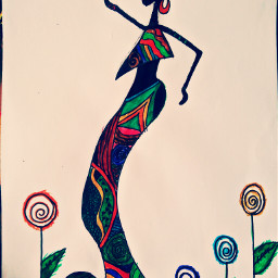 african woman colorful drawing love