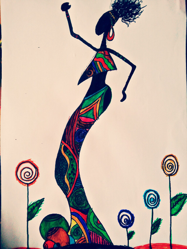 #African #woman #colorful  #drawing #love