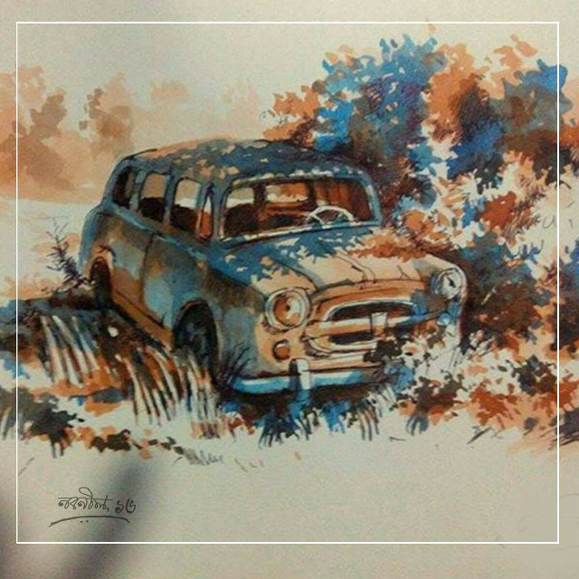 #watercolours #painting #photography #vintage #oldcar #paint #artist #art #digital #illusion #light #shadow #monochrome #composition #tree #oldphoto